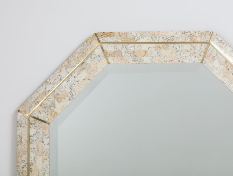 Maitland Smith Octagonal Tessellated Stone and Inlaid Brass Mirror  2