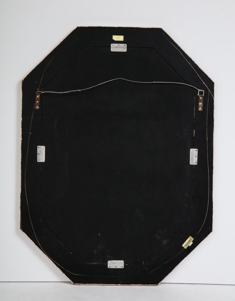 Maitland Smith Octagonal Tessellated Stone and Inlaid Brass Mirror  3
