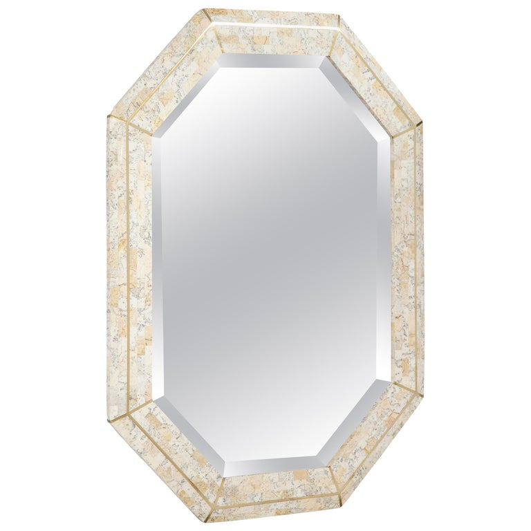 Maitland Smith Octagonal Tessellated Stone and Inlaid Brass Mirror