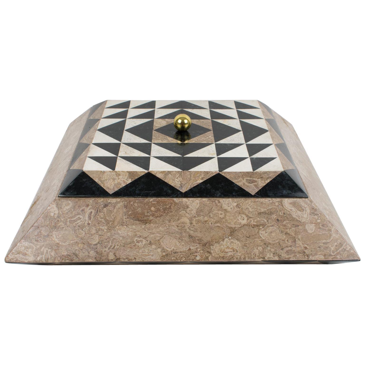 Maitland-Smith Oversized Tessellated Marble Stone Box