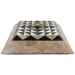 Maitland-Smith Oversized Tessellated Marble Stone Box