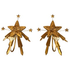 Maitland Smith Pair of Star Motif Giltwood Sconces