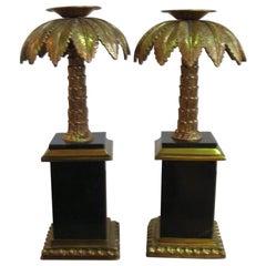 Maitland Smith Palm Tree Brass and Stone Candlesticks