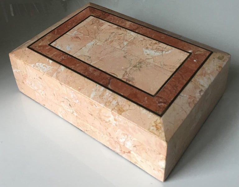 Modern Maitland-Smith Pink Tessellated Stone Box For Sale