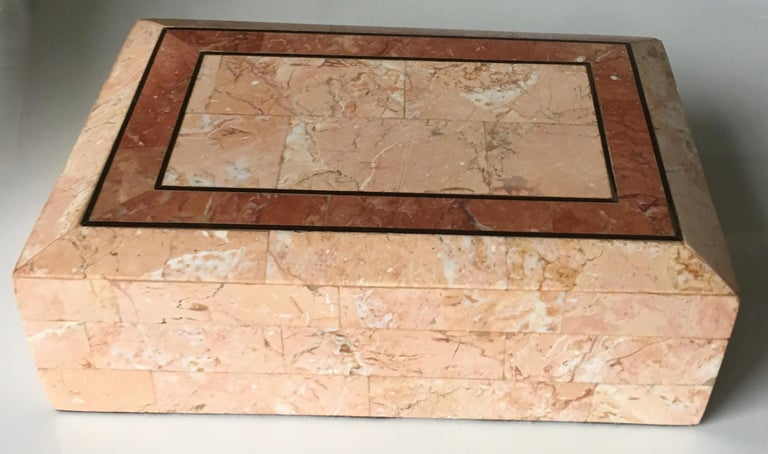 American Maitland-Smith Pink Tessellated Stone Box For Sale