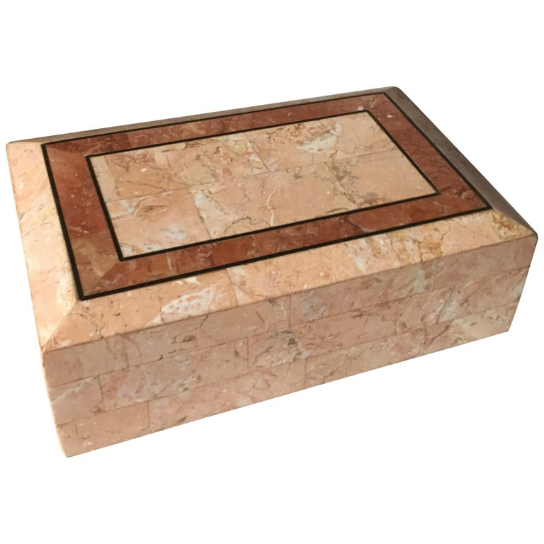 Maitland-Smith Pink Tessellated Stone Box For Sale