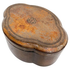 Maitland Smith Pretty Vintage Leather Wrapped Oval Lidded Box Philippines, 1980s