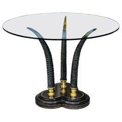 Maitland Smith Round Brass and Leather Table with Horns