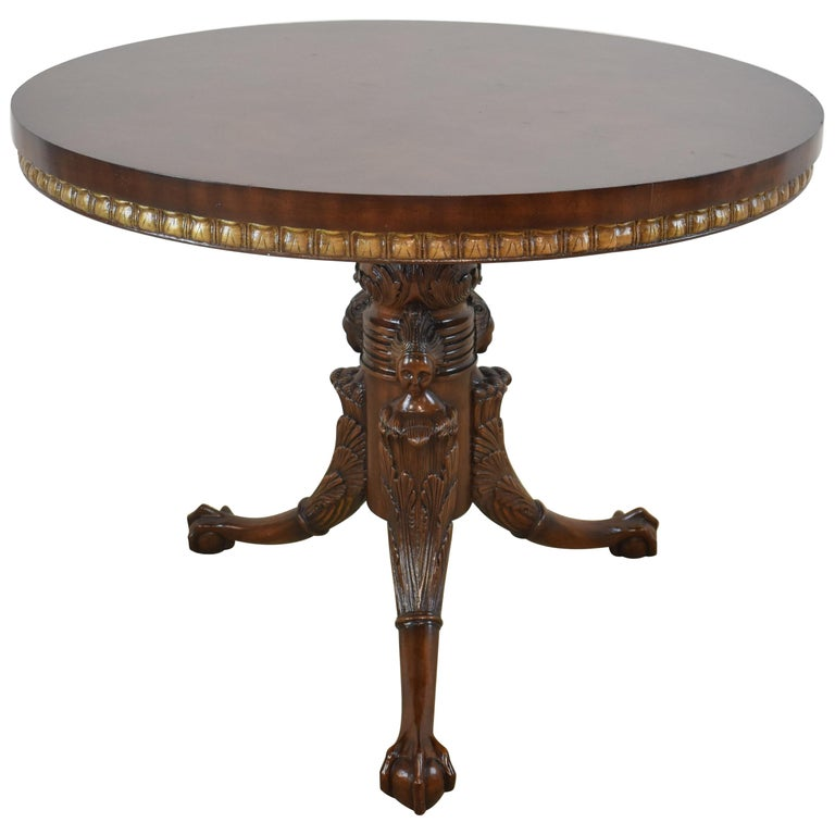 87b0275a8573 Maitland Smith Chippendale Round Mahogany Centre Table with Ball and Claw  Feet For Sale
