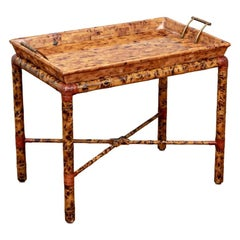 Maitland Smith Sectioned Horn Top Rattan Tray Table