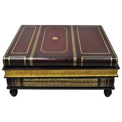 Maitland Smith Stacked Book Leather Bound Large 3-Drawer Cocktail Coffee Table