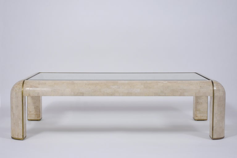Mid-Century Modern Maitland Smith Stone Coffee Table For Sale