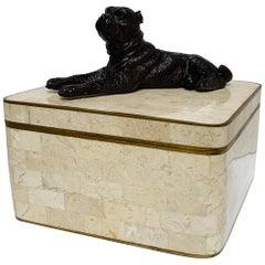 Maitland Smith, Stone Inlay Box, with Bronzed Dog and Brass Trim Details