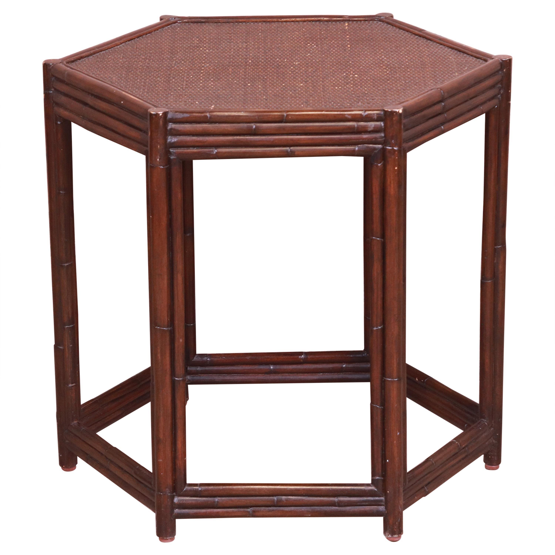 Maitland Smith Style Bamboo Rattan Hexagonal Tea Table