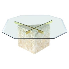 Maitland-Smith Style Brass and Glass Tessellated Stone Pedestal Coffee Table
