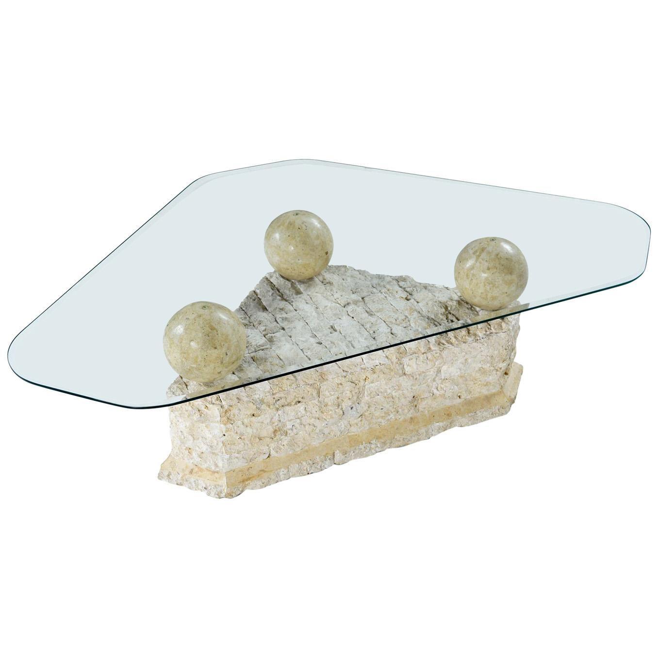 Maitland Smith Style Mactan Tessellated Stone Orb Pedestal Coffee Table