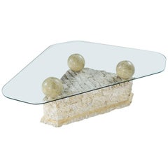 Maitland Smith Style Mactan Tessellated Stone Orb Pedestal Coffee Table