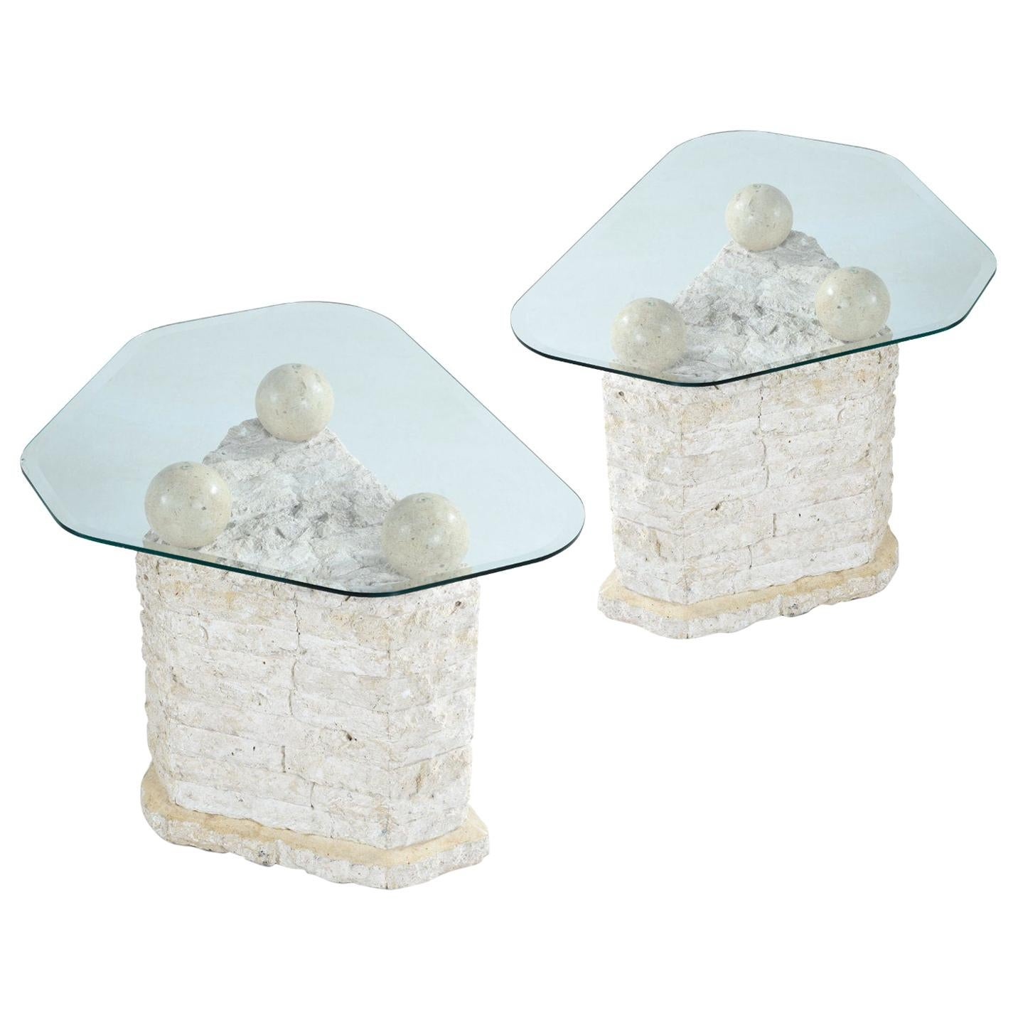 Maitland Smith Style Mactan Tessellated Stone Orb Pedestal End Tables