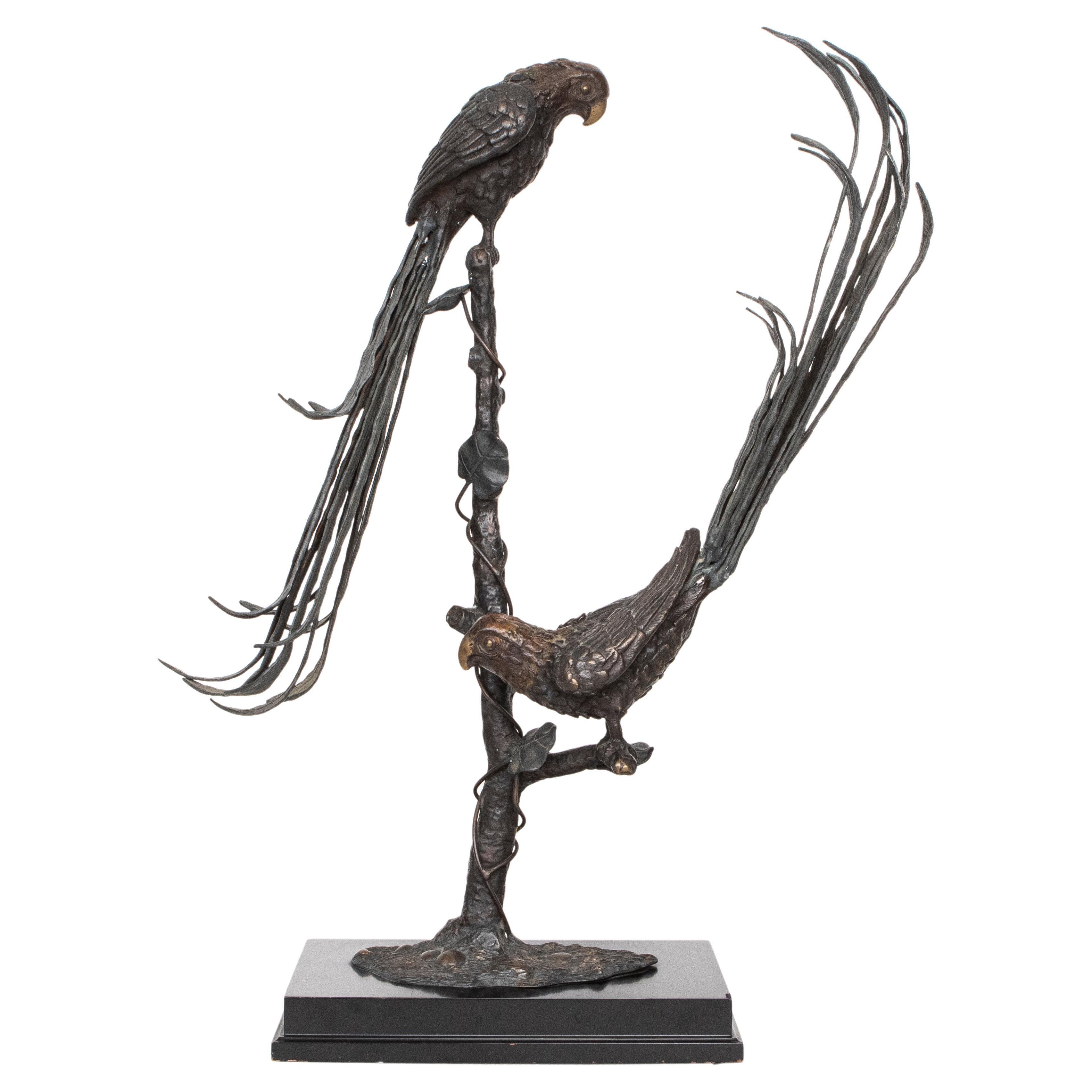 "Maitland Smith Style ""Perched Parrots"" Sculpture"