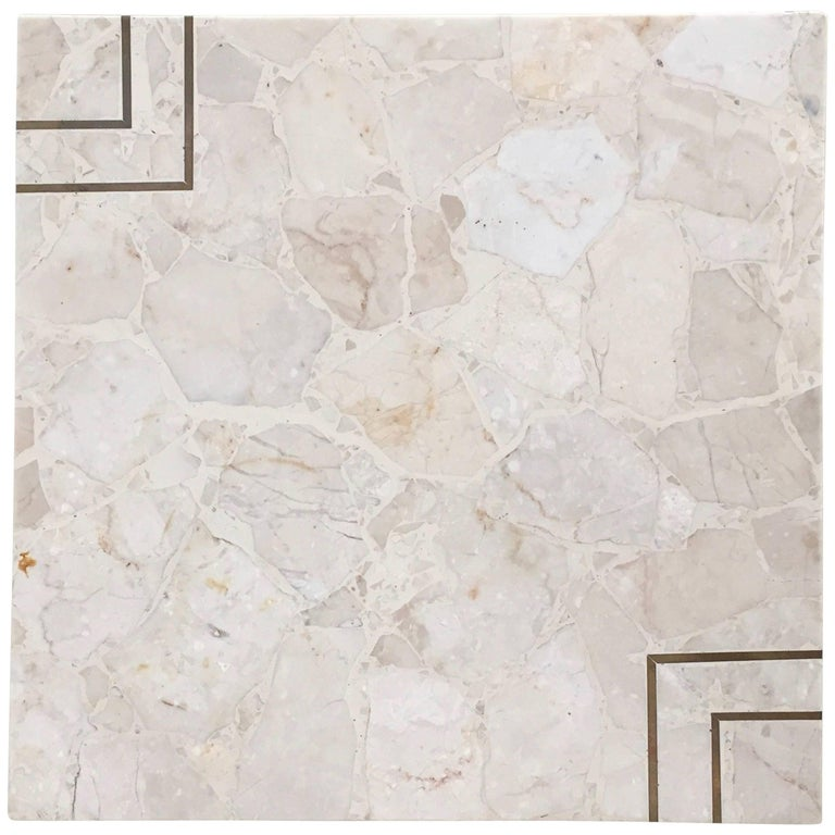Maitland Smith Style Stone Terrazzo Marble And Brass Inlay