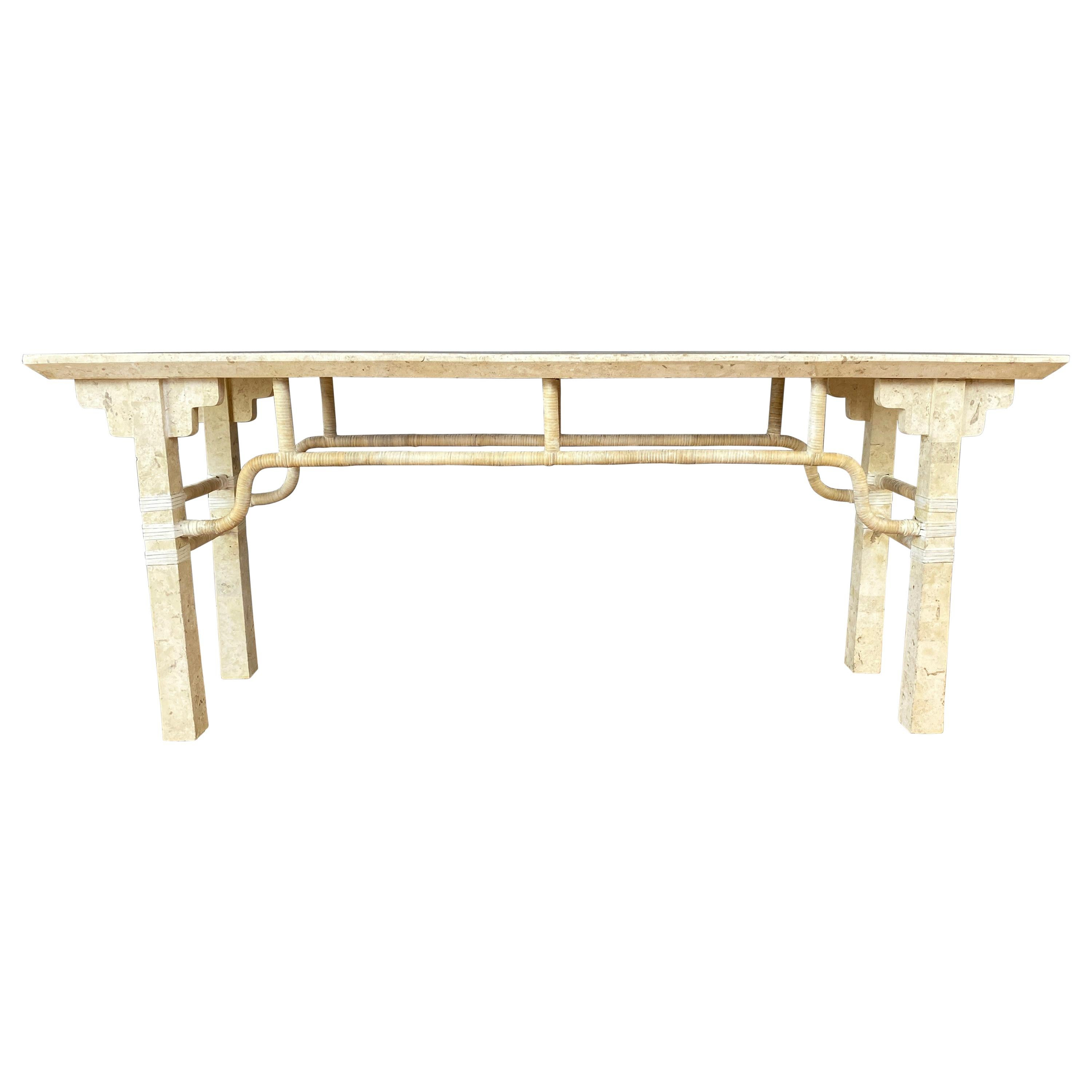 Maitland-Smith-Style Tessellated Fossil Stone and Rattan Console Table, 1980s