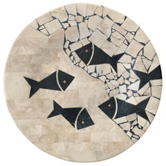 Maitland Smith Style Tessellated Stone Bowl with Fish