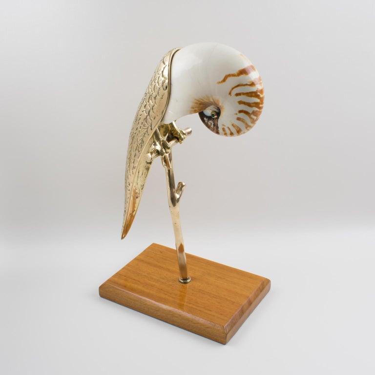 Modern Maitland-Smith Tall Brass and Nautilus Sea Shell Parrot Bird Sculpture For Sale