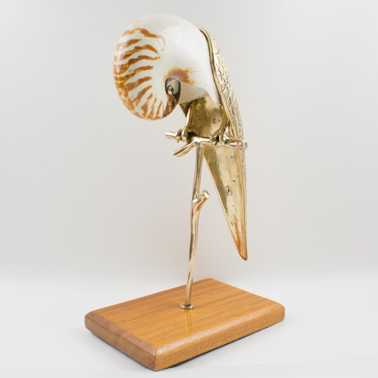 American Maitland-Smith Tall Brass and Nautilus Sea Shell Parrot Bird Sculpture For Sale