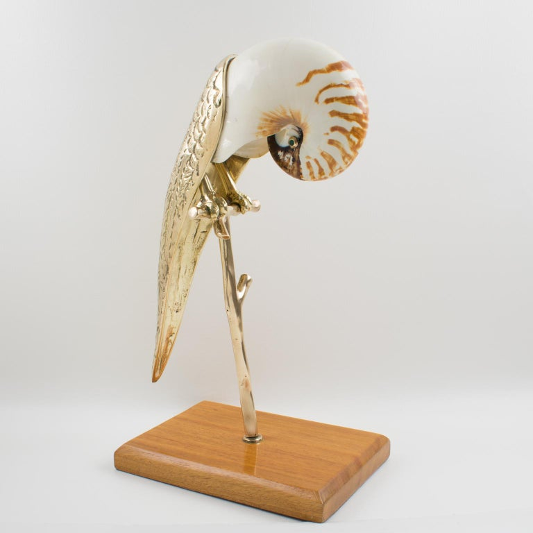 Maitland-Smith Tall Brass and Nautilus Sea Shell Parrot Bird Sculpture In Excellent Condition For Sale In Atlanta, GA