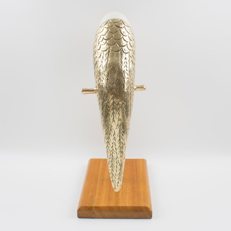 20th Century Maitland-Smith Tall Brass and Nautilus Sea Shell Parrot Bird Sculpture For Sale