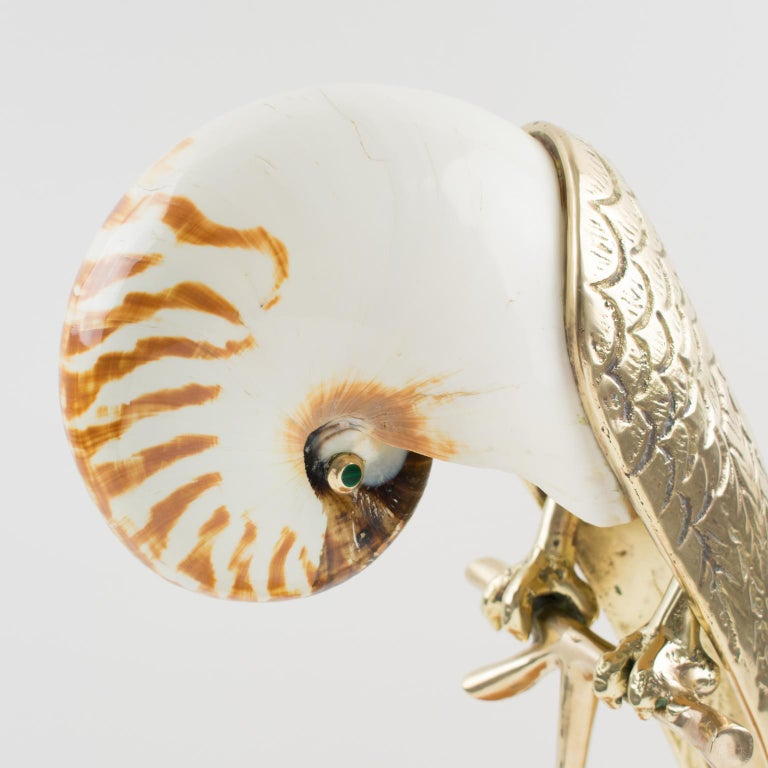 Maitland-Smith Tall Brass and Nautilus Sea Shell Parrot Bird Sculpture For Sale 1