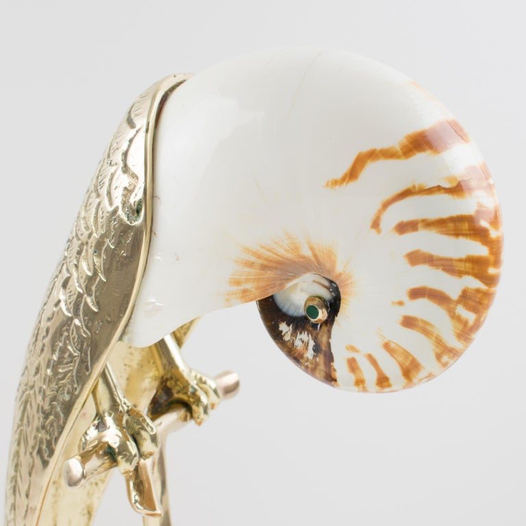 Maitland-Smith Tall Brass and Nautilus Sea Shell Parrot Bird Sculpture For Sale 2