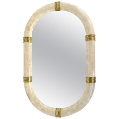 Maitland Smith Tesselated Stone Mirror with Brass Banding