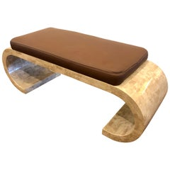 Maitland-Smith Tessellated Bench in Leather Seat