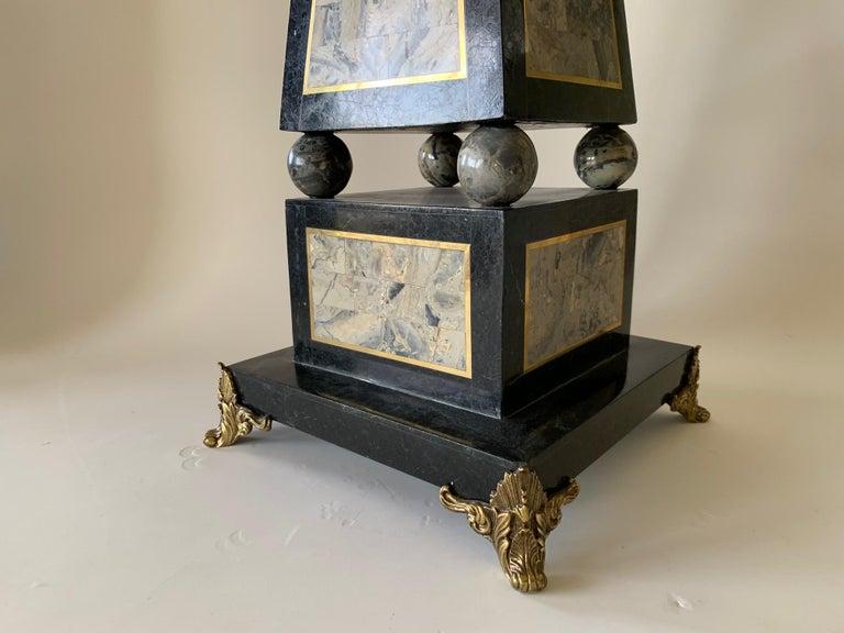 Regency Maitland Smith Tessellated Black Marble Obelisk For Sale