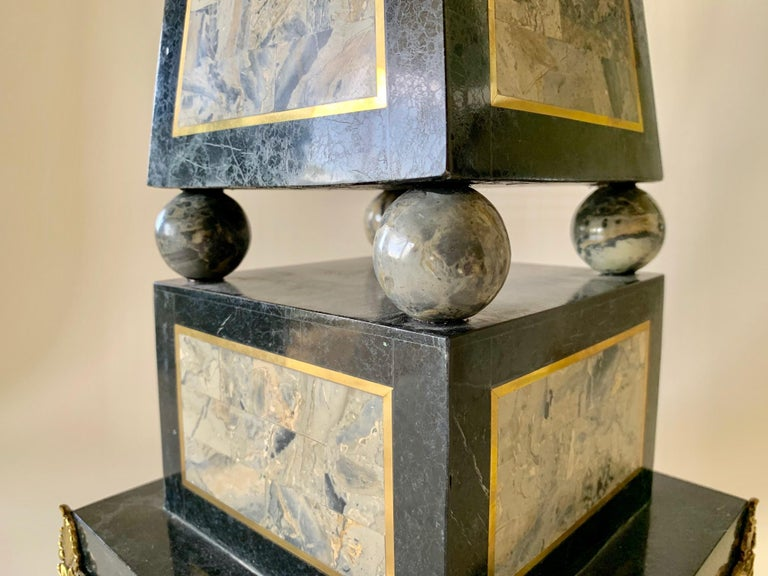 American Maitland Smith Tessellated Black Marble Obelisk For Sale