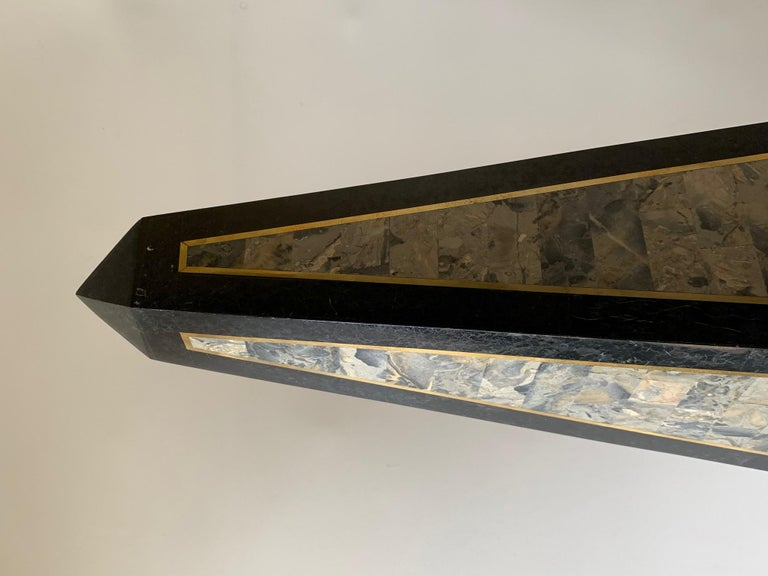 Maitland Smith Tessellated Black Marble Obelisk For Sale 1