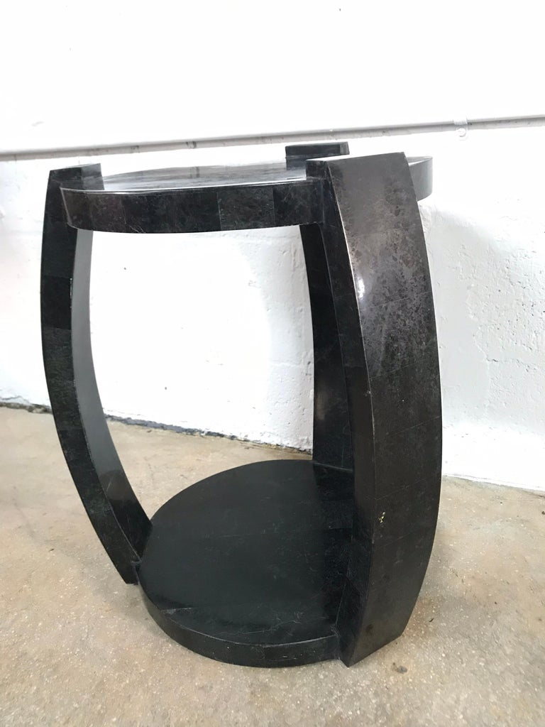 Mid-Century Modern Maitland Smith Tessellated Black Marble Occasional Side or End Table For Sale