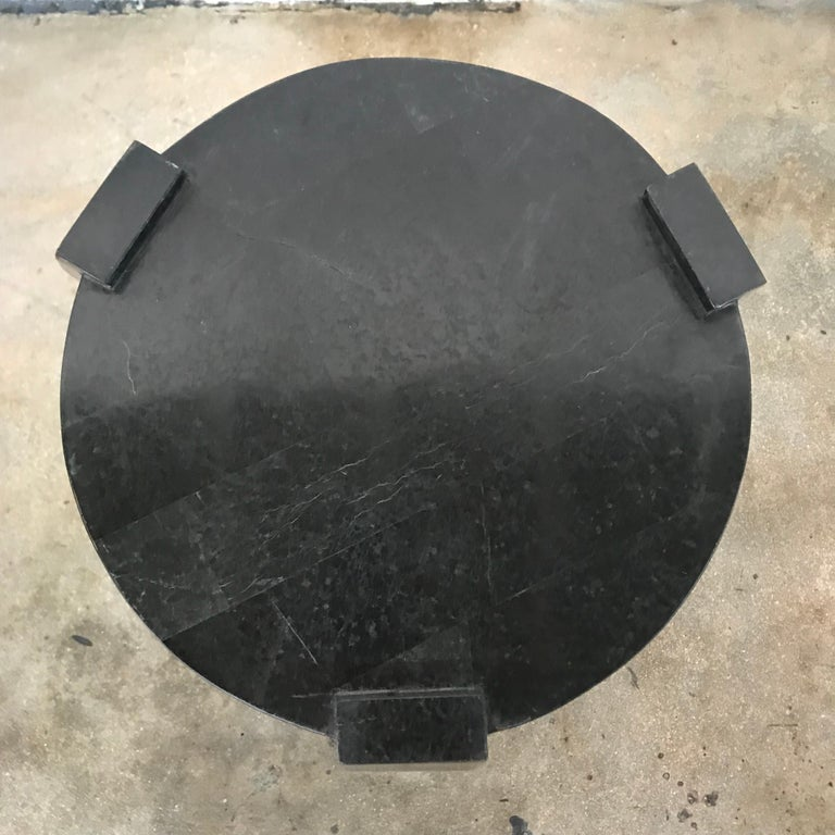 20th Century Maitland Smith Tessellated Black Marble Occasional Side or End Table For Sale
