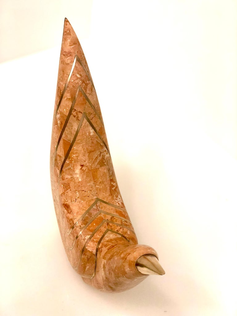 Hollywood Regency Maitland-Smith Tessellated Coral Stone and Polished Brass Dove Sculptures For Sale