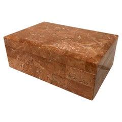 Maitland-Smith Tessellated Coral Stone Jewelry Box