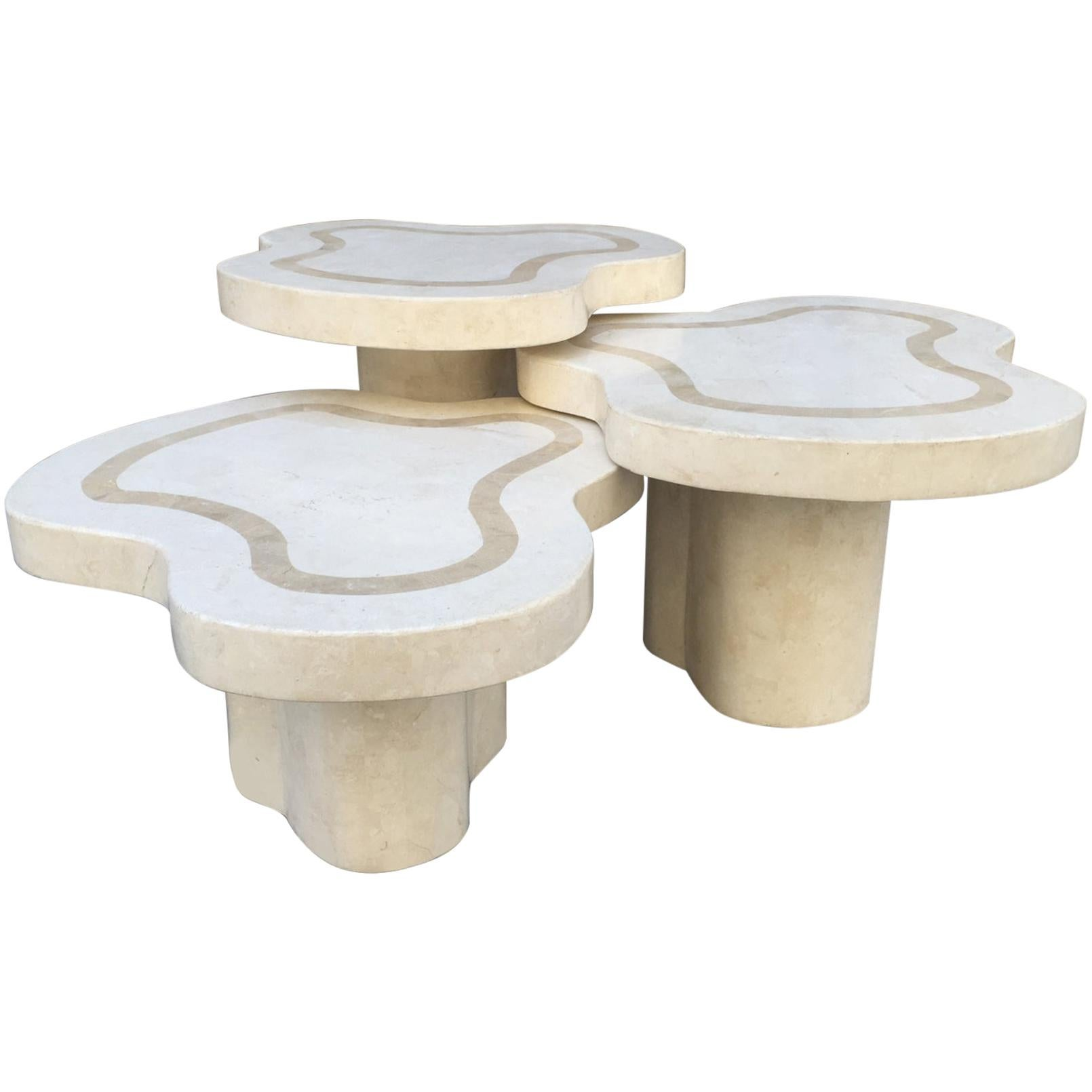 Maitland-Smith Tessellated Fossil Stone Tables