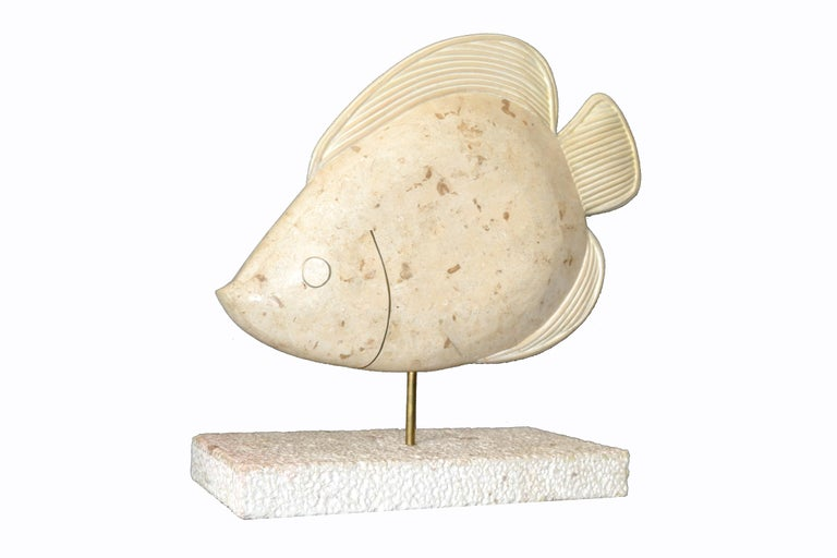 Maitland-Smith Tessellated Horn and Coral Fish Sculpture with Brass For Sale 4