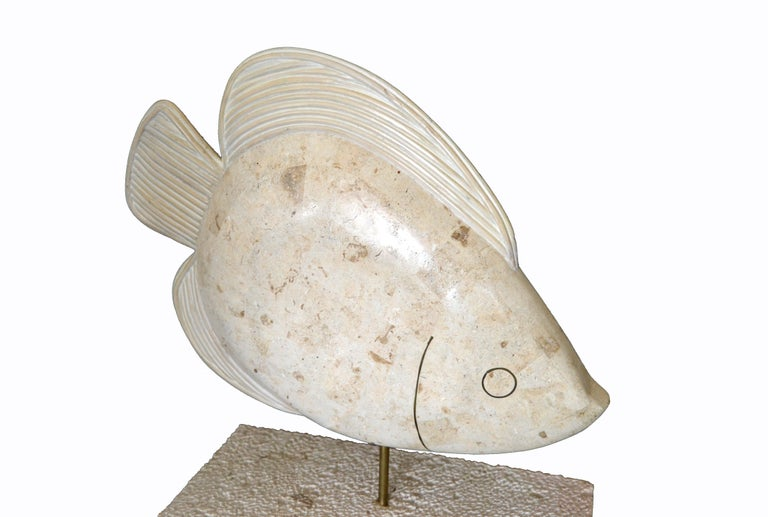 Hollywood Regency Maitland-Smith Tessellated Horn and Coral Fish Sculpture with Brass For Sale