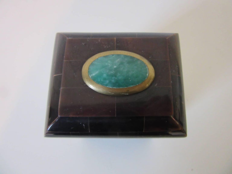 Modern Maitland Smith Tessellated Horn and Gem Stone Decorative Box For Sale