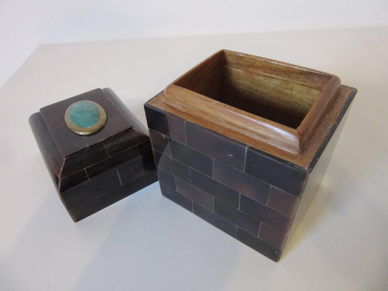 Philippine Maitland Smith Tessellated Horn and Gem Stone Decorative Box For Sale