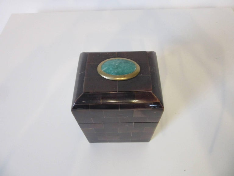 20th Century Maitland Smith Tessellated Horn and Gem Stone Decorative Box For Sale