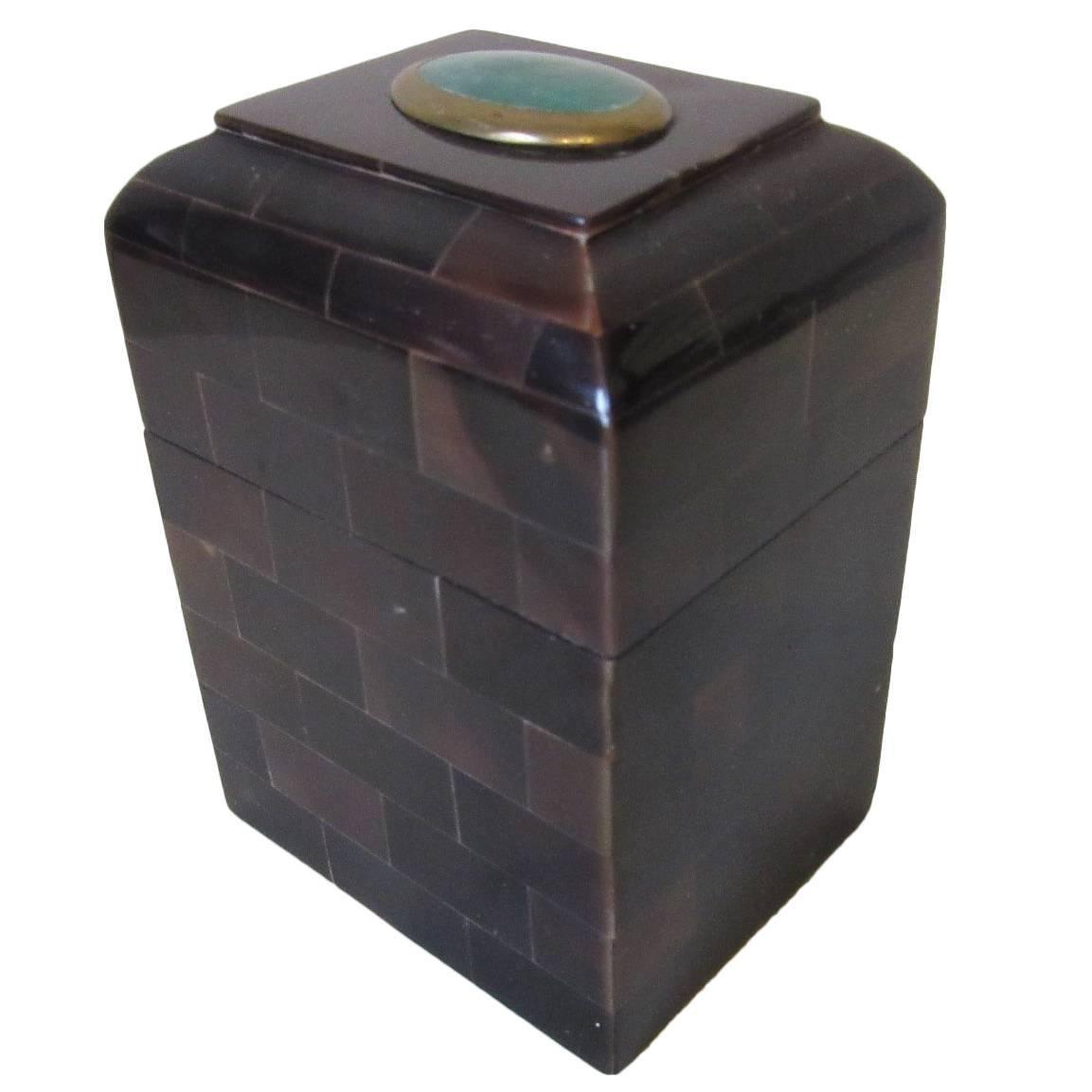 Maitland Smith Tessellated Horn and Gem Stone Decorative Box