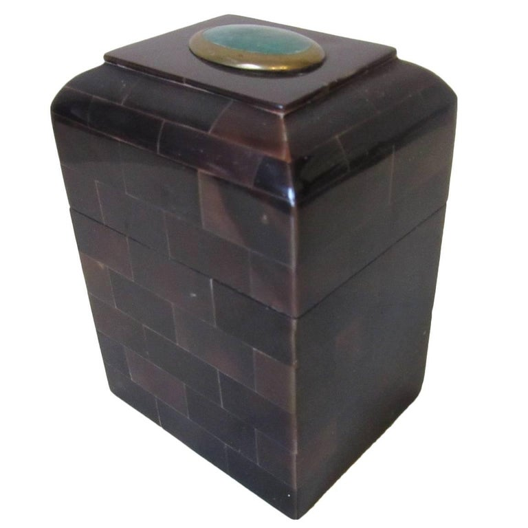 Maitland Smith Tessellated Horn and Gem Stone Decorative Box