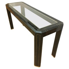 Maitland Smith Tessellated Marble and Brass Console Hall Table